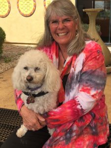 """Benevilla Support Groups Facilitator Connie Danks with """"Benepet"""" Tuley"""