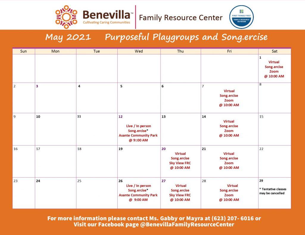 Benevilla Family Resource Center May Events Calendar