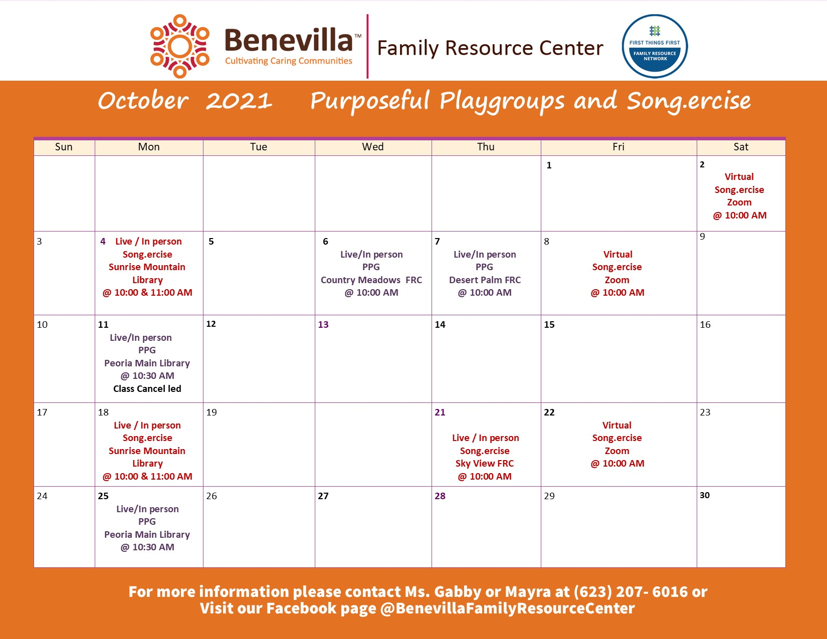 Benevilla Family Resource Center Calendar October 2021